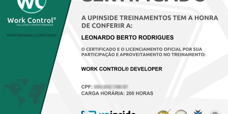 Certificado de Work Control® Developer