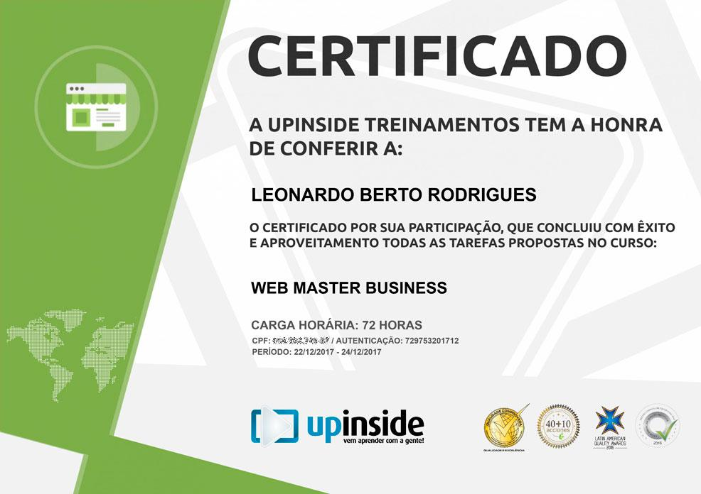 Certificado de Web Master Business